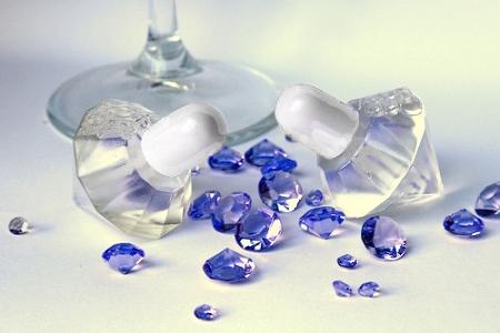 wedding bubbles σε σχήμα διαμάντι με λευκό πώμα