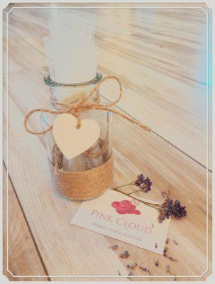 μπομπονιέρα γάμου βαζάκι με ξύλινη καρδιά και σπάγγο