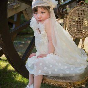 βαπτιστικό ρούχο αμπίρ για κορίτσι με πουά τούλι