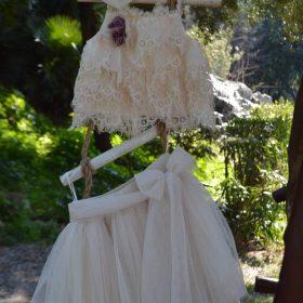 βαπτιστικό ρούχο τούλινη φούστα crop top