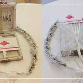 χειροποίητη βεροθήκη και στεφανάκι νύφης