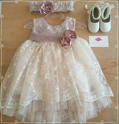 χειροποίητο βαπτιστικό φόρεμα παπουτσάκια babywalker